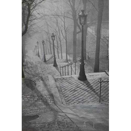 501 - An original Art Deco Brassai poster, 'Les Escaliers de Paris 1936', in original 1930's oak frame and...