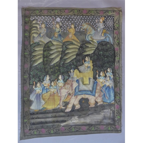 503 - A large early to mid 20th century Indian wall hanging, painted on fine cotton in natural pigment pai...