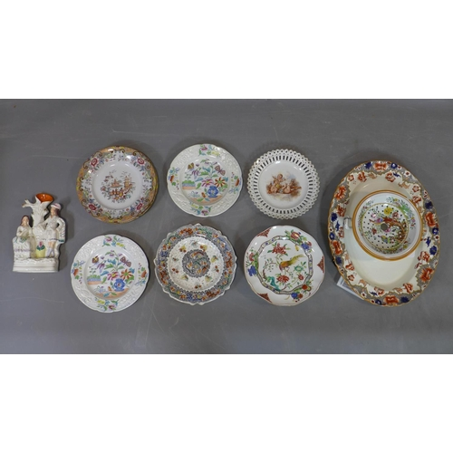 505 - A collection of porcelain and ceramics, to include a  large Copeland Spode oval platter with red/blu...