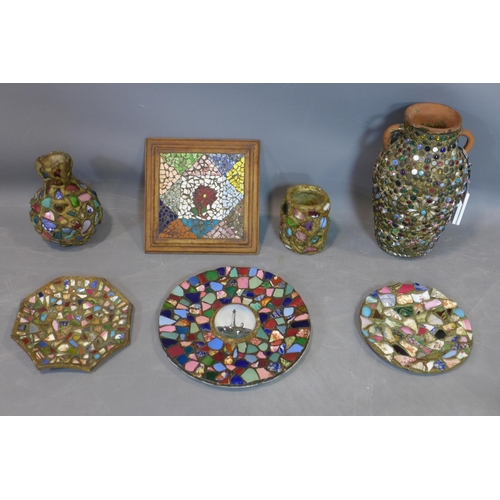 508 - A collection of 7 Victorian Mudlark mosaic items, to include an urn covered in ornate Victorian butt...