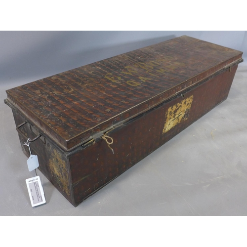 512 - A WWI metal trunk, with stencil for Dr E. W. Bond of the  Queen Alexandra's Imperial Military Nursin...