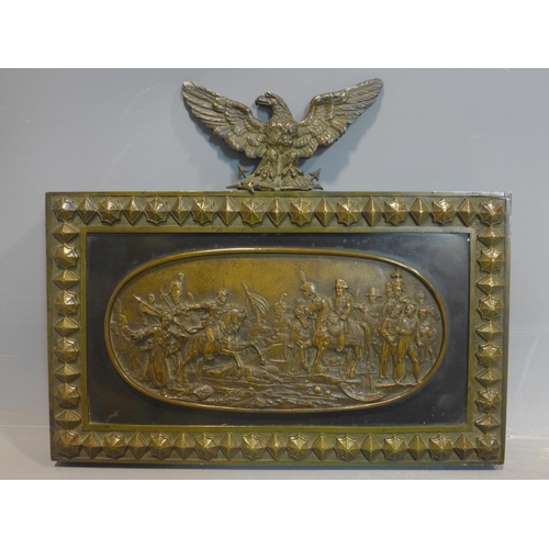520 - 20th century English bronze relief representing the Battle of Waterloo, 23 x 28 cm...
