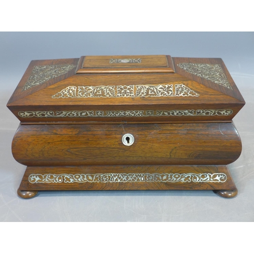 521 - Antique 19th Century William IV Rosewood & Mother-of-Pearl Inlaid Tea Caddy, c1830...