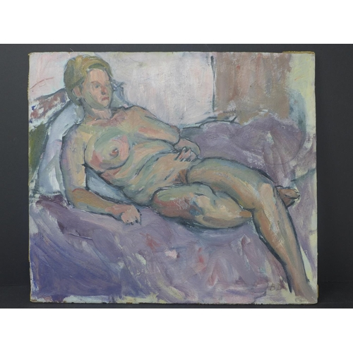 522 - 20th century Reclined Female Nude, Acrylic On Panel, initialled 'BD', 36 x 31 cm...