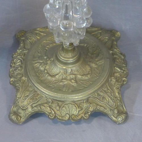528 - A 20th century pair of ashtrays on stands, Glass, brass and aluminium H 52 W 31 cm...