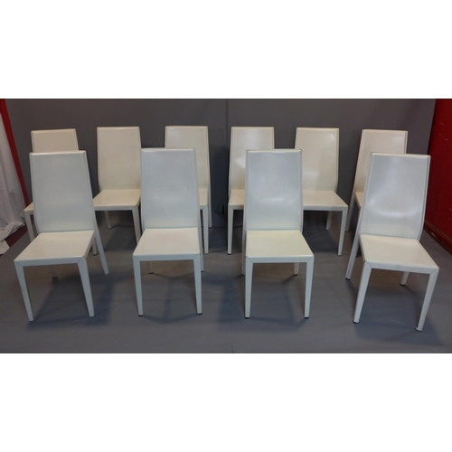 529 - 10 Cattelan dining chairs, 'Margot' model, steel frame completely covered in real white leather, eac...
