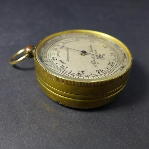 537 - Pocket Barometer Altimeter with Gilt Brass Case by Negretti & Zambra c1908...