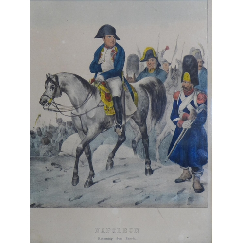 541 - A coloured print of Napoleon returning from Russia, published by Webb & Millington & Co., in attract...