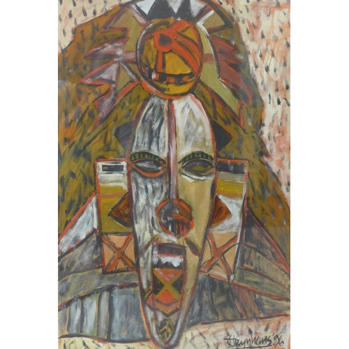 552 - Steynhaus (20th century), African masks, Mixed media on paper , signed and dated '96, 83 x 61cm
