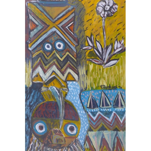 553 - Steynhaus (20th century), African masks, Mixed media on paper , signed and dated '96, 83 x 61cm...