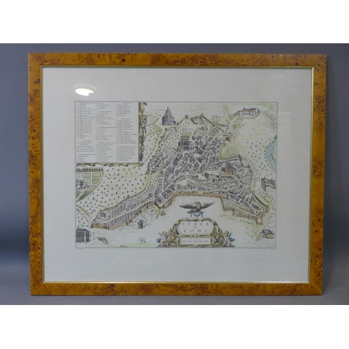 555 - An antique hand-coloured printed map on line of the city Todi in Italy after Pierre Mortier, framed ...