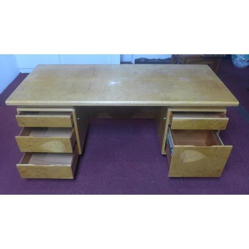 558 - A HK Furniture Equerry desk, c.1970, bearing label, H.73 W.184 D.80cm...