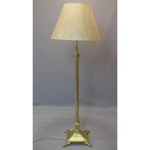 561 - A Victorian Neo Classical brass telescopic Corinthian column floor standing lamp, on stepped base wi...