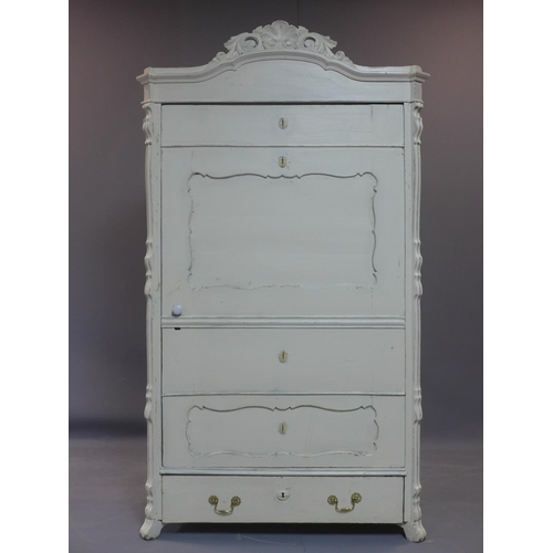 562 - A French distressed painted cupboard, with cupboard door revealing shelves, above long drawer, havin...