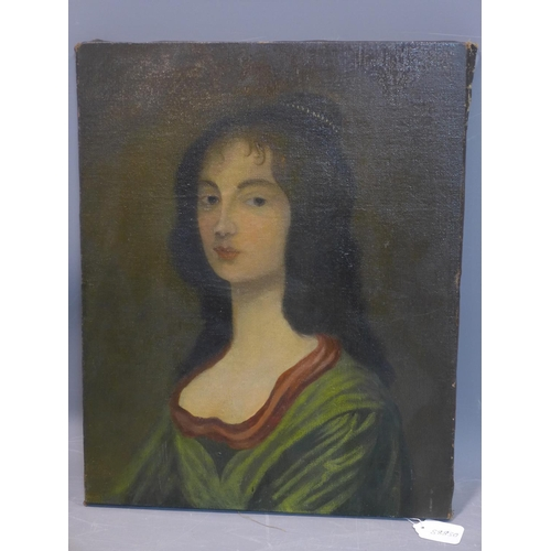 572 - Late 19th century school, Portrait of a Lady, oil on canvas laid down on board, unsigned, 54 x 43cm...