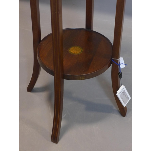 575 - An Edwardian Sheraton Revival inlaid mahogany jardiniere stand, with marquetry fan paterae to circul...