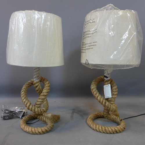 584 - Two rope lamps...