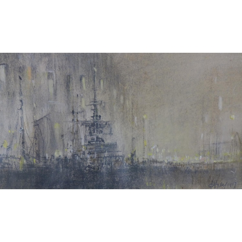 590 - Henry James Haley (British, 1874-1964), WWI Dockland Scene, graphite and pastel drawing, in original...