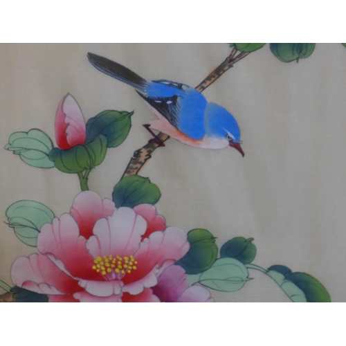 593 - A pair of 20th century fine silk paintings, one of a bluebird and pink Hibiscus flowers, the other o...