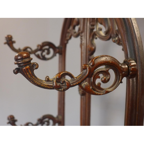 595 - Victorian cast iron hall stand / coat stand, cast iron, c.1860, 182x70x30cm...