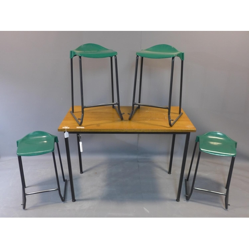 603 - A 20th century hardwood table, together with four bar stools by Metalliform, H.85 W.120 D.60cm...