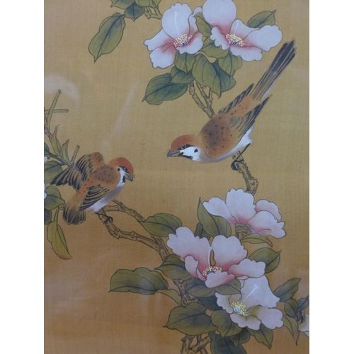612 - A mid 20th century Oriental watercolour on silk painting of sparrows and bamboo, signed and with red...