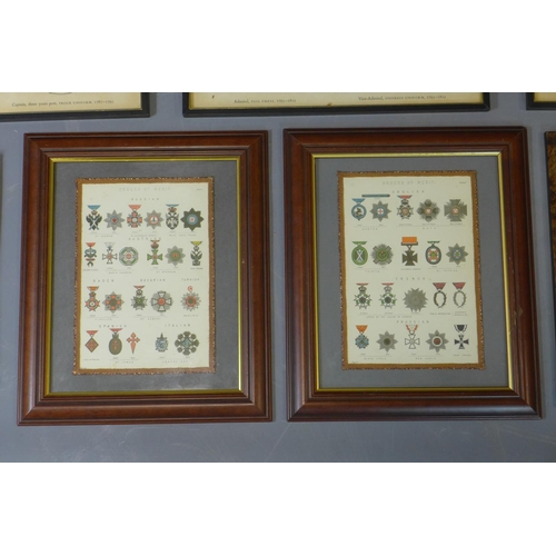 616 - A collection of prints of military interest, to include three framed and glazed silhouettes of Naval...