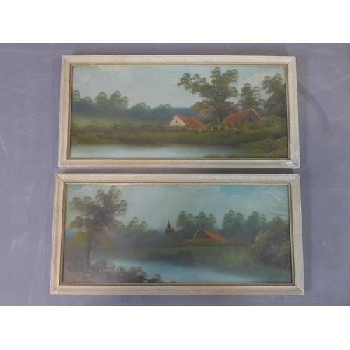 642 - 20th century British, Landscape, oil on board, 45 x 22 cm  each...