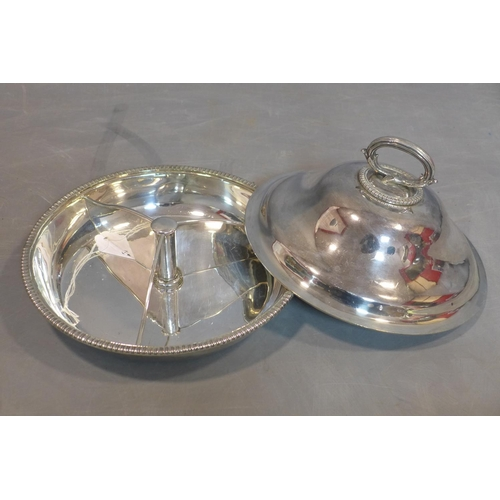 718 - A silver box, London 1930s, together with a silver plated tray, a entree serving tureen and a silver...