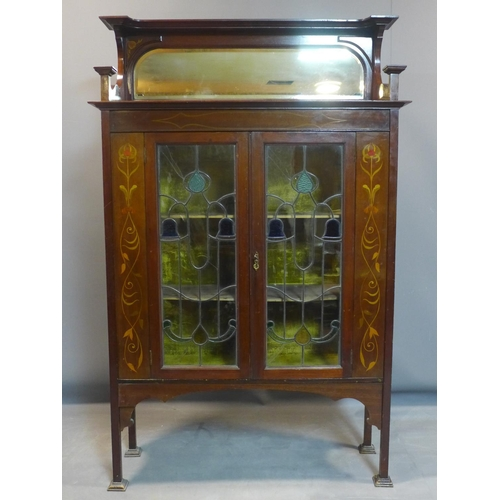 724 - Display cabinet, inlaid hardwood, stained glass and mirror, mid-20th century 132x100x30 cm...