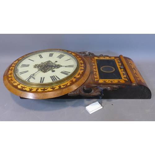 136 - A 19th century mahogany and marquetry inlaid drop dial wall clock, the dial with Roman numerals, eig...