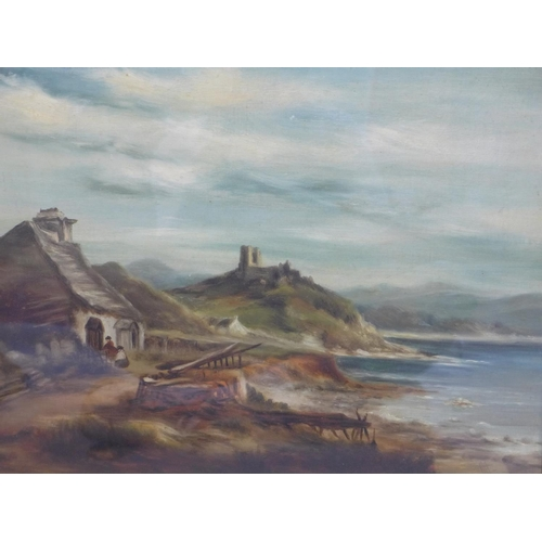 254 - 19th century school, View of a cottage by the sea with ruined castle to background, oil on canvas, m...