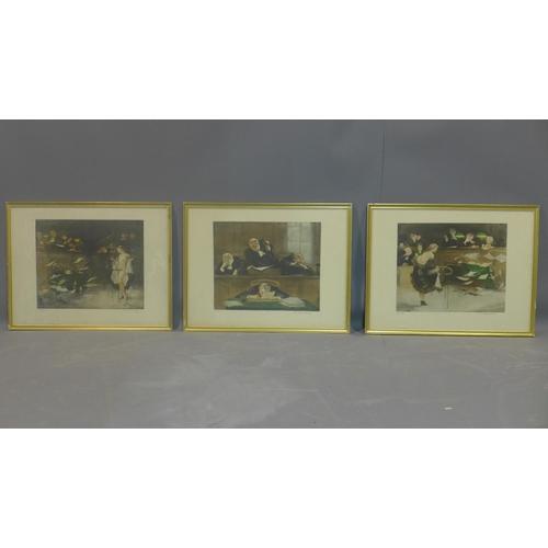 300 - Gaston Hoffman (1883-1960), three coloured etchings of court scenes...