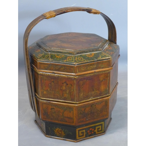 132 - A late 19th century Qing Dynasty fir wood wedding cake box, decorated with panels depicting figures,...