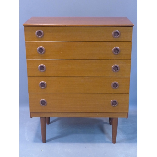 58 - A mid 20th century teak chest of five drawers, raised on tapered legs, H.93 W.75 D.39cm...