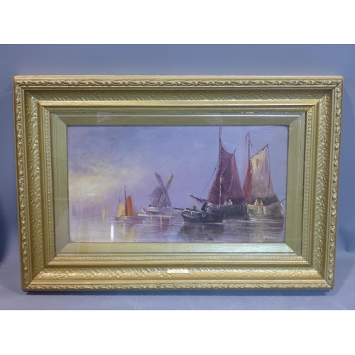 255 - Dutch school, a pair of seascapes with boats at harbour and windmills to background, oil on board, i...