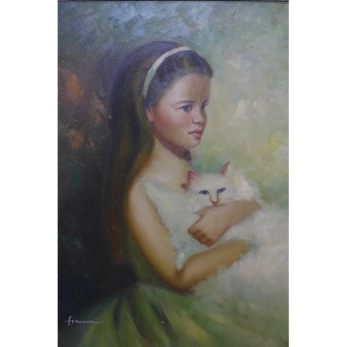269 - Freuann, 'Young Girl with Cat', oil on canvas, signed lower left, framed, 60 x 43cm...