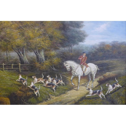 256 - 19th century British school, Victorian Hunt Scene', oil on canvas, unsigned, framed, 90 x 120cm...