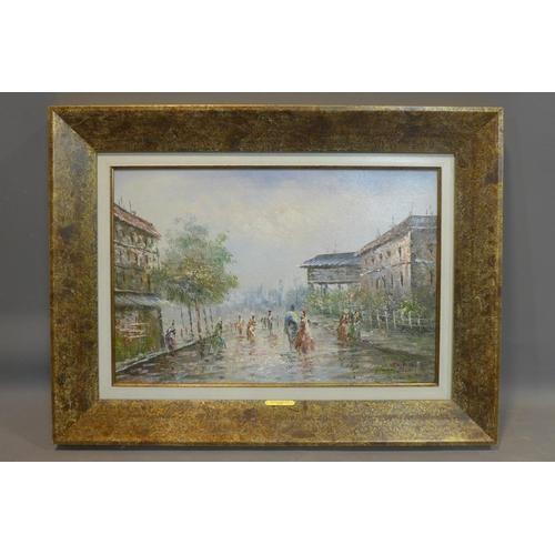 297 - Contemporary school, 'The Promenade', 2010, oil on canvas, signed 'Alex' to lower right, 39 x 58.5cm...