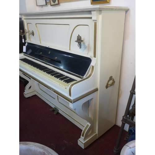 253 - A Bluthner Leipzig white upright piano, with twin brass sconces, H.143 W.163 D.71cm...