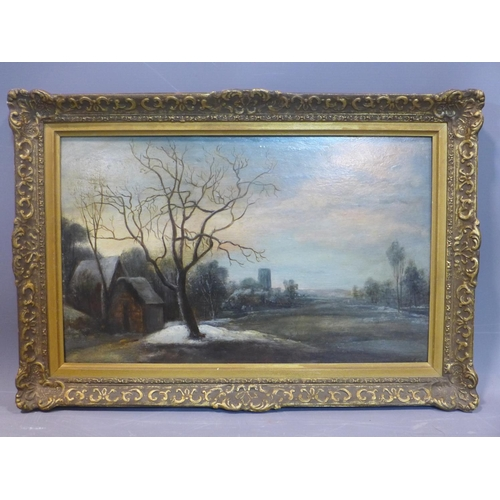 259 - Late 19th / early 20th century Dutch school, Winter landscape with tree and cottage to foreground, i...