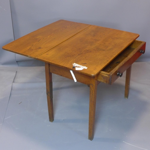 71 - An elm drop leaf side table, with single drawer, on square legs, H.70 W.91cm...