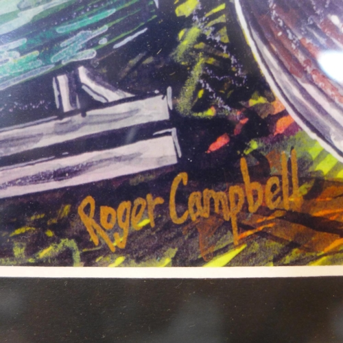 277 - Roger Campbell (1944 1993), oil on paper, framed and glazed. H.17 W.37cm...