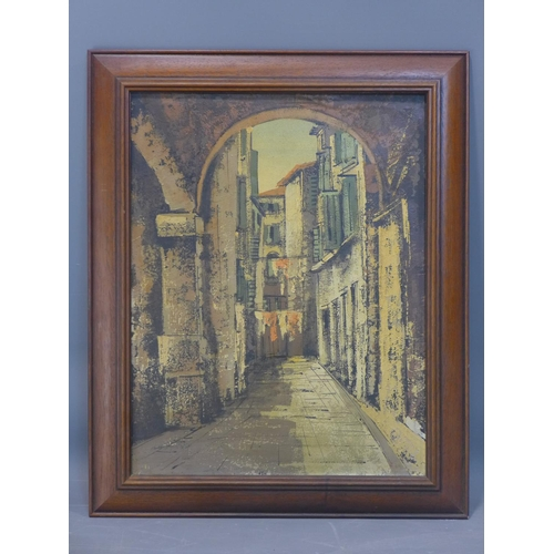 298 - A mid 20th century oil on canvas depicting Continental street scene. H.52 W.40cm...