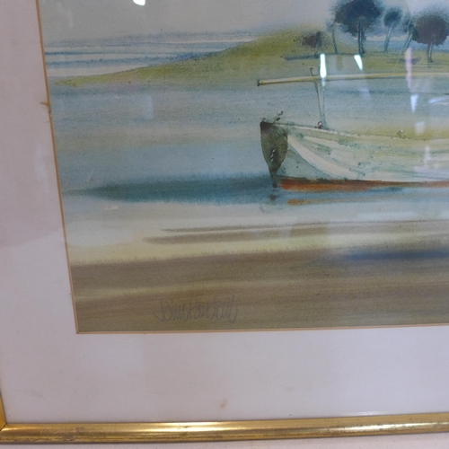 284 - A large framed and glazed watercolour of boats in a harbour, signed John Randall, 63 x 82cm...