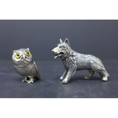 197 - Two sterling silver miniature figures: one of a standing Alsatian dog, 3.2 x 4.5cm, and an owl, 2.7 ...