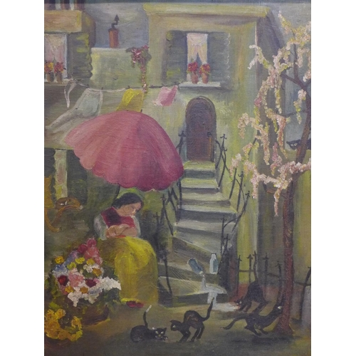 280 - 20th century French School, Painting of a flower vendor with cats, stamped on the back, framed, 51 x...