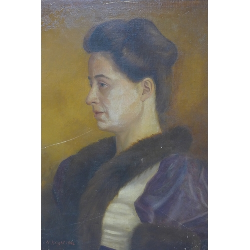 262 - Portrait of Elizabeth Byars, signed N. Knight and dated 1884 lower right, 55 x 44.5cm...