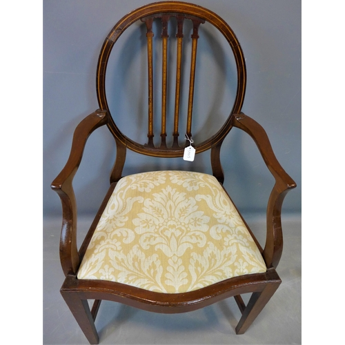 36 - An inlaid mahogany chair with inlaid back splats, shaped arms and serpentine front seat with drop in...
