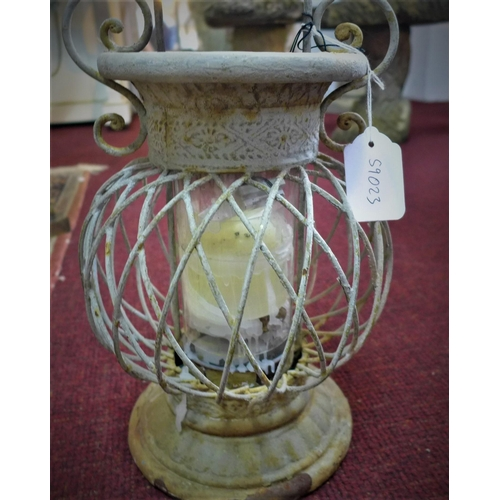 215 - A 20th century storm lantern, with pierced frame, H.52cm...